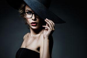 juicy lips women with glasses portrait women face model