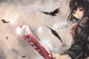 katana red eyes crow