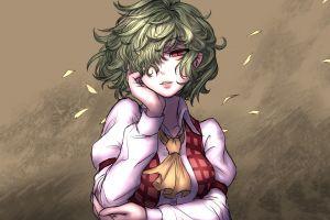 kazami yuuka flower petals ascot touhou green hair red eyes