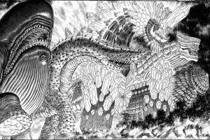 kentaro miura anime surreal monochrome berserk