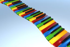 keys piano colorful render