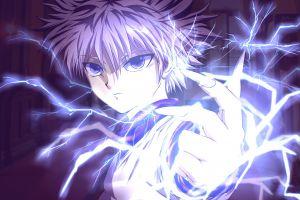 killua zoldyck bolts purple eyes anime hunter x hunter purple hair