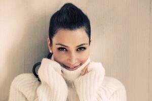 kim kardashian black hair celebrity turtlenecks sweater women smiling face ponytail
