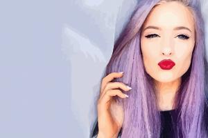 kissing lips vector art purple hair vector