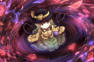 komeiji koishi green eyes green hair touhou anime girls hat