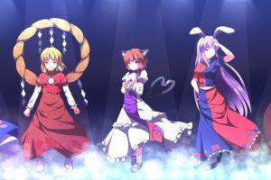 konpaku youmu nazrin anime girls touhou reisen udongein inaba moriya suwako chen