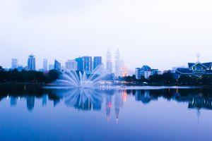 kuala lumpur landscape skyscraper fountain petronas towers malaysia