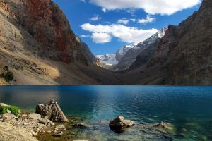 lake clouds landscape snow blue mountains nature water tajikistan