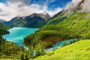 lake landscape forest mountains altai mountains