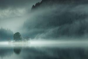 lake landscape morning scotland trees forest nature island mountains mist