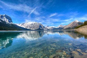 lake landscape snowy peak blue canada reflection nature water forest mountains