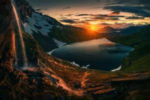 lake landscape sun nature
