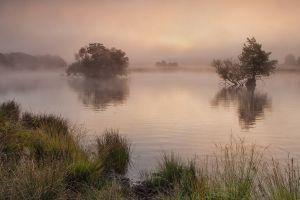 lake mist landscape nature