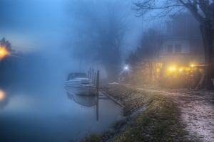 lake nature atmosphere house trees boat mist path lights landscape
