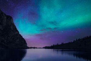 lake nature aurorae night