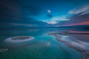 lake nature salt lakes dusk landscape
