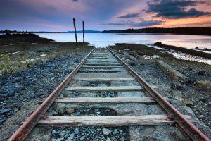 lake railway abandoned landscape nature