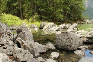 lake rock water mountains germany