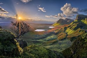 lake shrubs sunset panoramas sky landscape grass hills nature clouds valley road skye island scotland