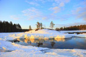 lake sunset nature winter sunlight snow landscape
