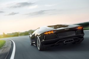 lamborghini aventador motion blur car road