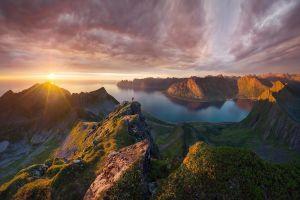 landscape bay sea sunset mountains