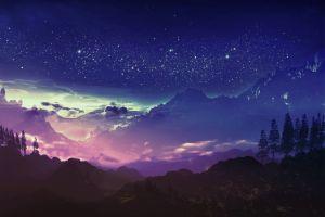 landscape blue mountains stars night digital art