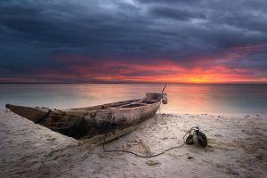 landscape boat beach clouds sea