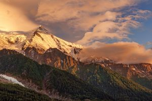 landscape clouds france sunset snowy peak nature alps mountains summer forest