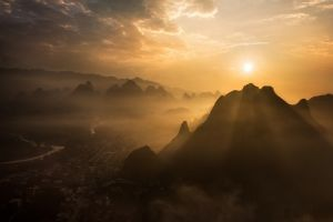 landscape clouds mountains river china cityscape mist nature guilin