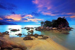 landscape clouds sea beach