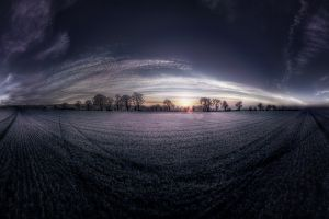 landscape clouds trees fisheye lens field sunset nature panoramas