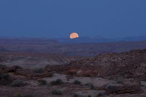 landscape desert moon night mountains