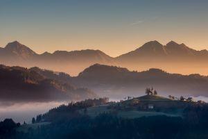 landscape fall forest mist slovenia mountains village nature