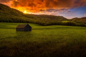 landscape forest sky colorful clouds summer mountains sunset nature grass hut