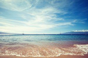 landscape horizon beach sea sailing ship