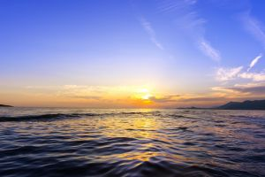 landscape horizon hills sea sunset