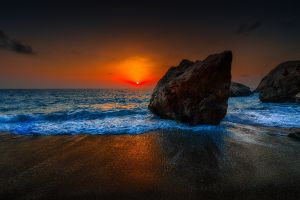 landscape horizon sea coast sunset beach rocks