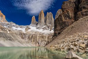 landscape lake torres del paine nature rock formation cliff patagonia