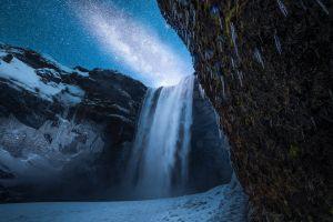 landscape lake waterfall