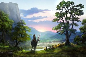 landscape looking into the distance fantasy art