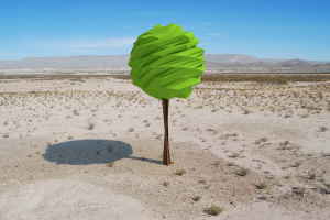 landscape low poly digital art trees render