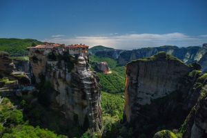 landscape meteora monastery greece cliff mountains
