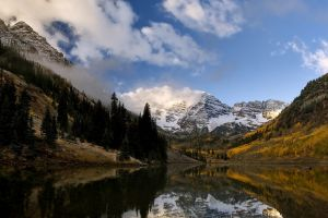 landscape mountains forest mist water clouds lake nature reflection snowy peak morning colorado fall