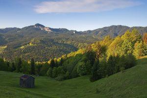 landscape mountains nature forest cabin
