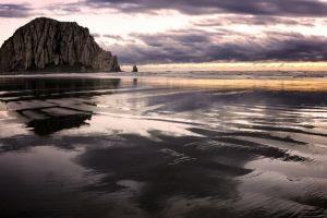 landscape nature california rock sea beach cliff overcast