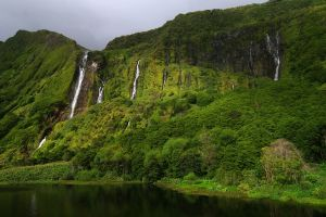 landscape nature cliff waterfall azores trees