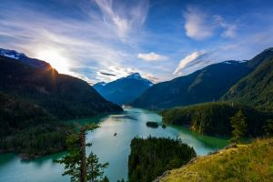 landscape nature lake mountains snowy peak forest
