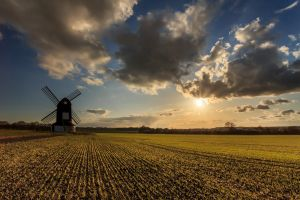 landscape plains nature windmill field