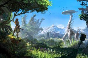 landscape playstation 4 robot horizon: zero dawn forest video games futuristic aloy (horizon: zero dawn) sky